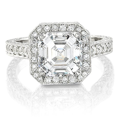 Ladies 14kt white gold engagement ring 1.00 ctw G-VS2 diamonds and 2 ct Asscher Cut White Sapphire Center