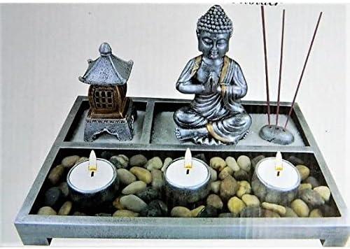 Inconnu Mini Jardín Zen Rectángulo 27,5 x 19 cm Decoración Meditación Velas Japonés: Amazon.es: Hogar