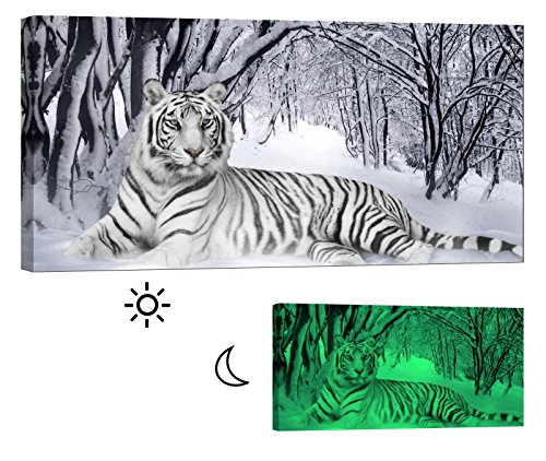 LightFairy Glow in the Dark Canvas Painting - Stretched and Framed Giclee Wall Art Print - Lion Tiger Leopard Bengal Tiger - Master Bedroom Living Room Decor - 6 Hours Glow - 46 x 24 inch (Bengal Tiger Framed)