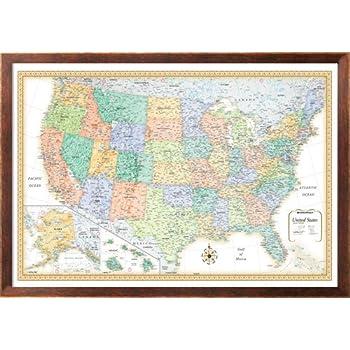 Amazoncom X Rand McNally United States USA Wall Map Framed - Framed us map