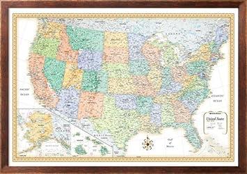 Amazoncom X Rand McNally Classic United States USA Wall Map - Us map framed