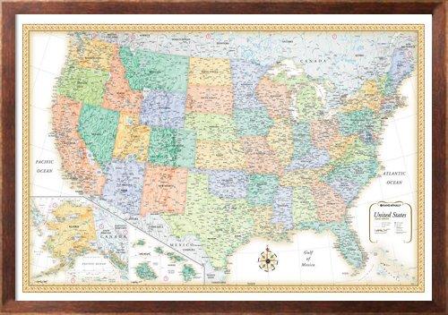 32x50 Rand McNally Classic United States USA Wall Map Framed Edition - Rand Mcnally Wall Map World