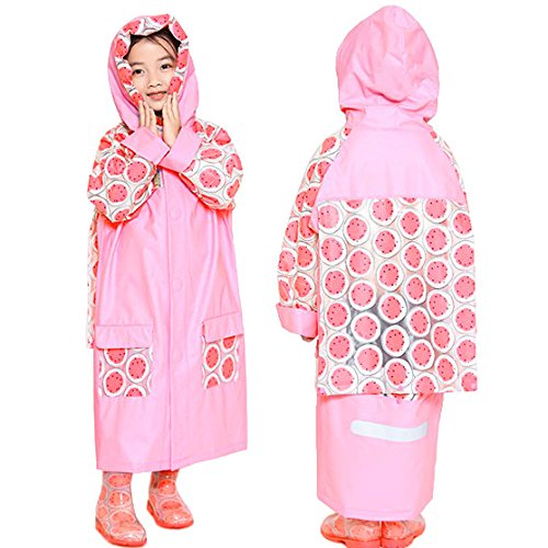 (Rain Poncho for Kids to Cover Backpack,C.A.Z Age 5-12 Kids Teens Rain Jacket Rain Poncho Raincoat Hooded With Bag Cover and Safety Reflective Stripe for Nights and Heavy Rainy Days Rainwear Pink M )