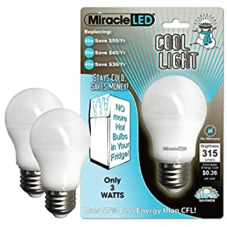 MiracleLED 604724 3-Watt Refrigerator and Freezer Light, Long Life Energy Saver Bulb, Cool White, 2-Pack Replacing Old, Hot 40W Incandescent, 2