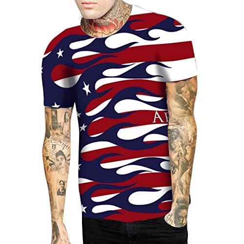 4b916ce5687e Shirt for Men, Men's Loose Casual USA Flag Gym Fitness Sports