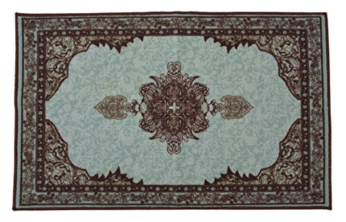 Persian Medallion Mat Area Rug Slip Skid Resistant Rubber Backing Anti Bacterial (Turquoise Brown, 1'11