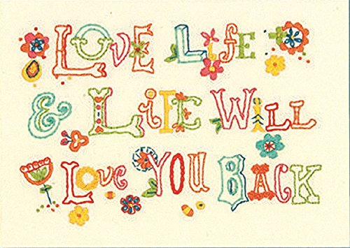 Dimensions 71-06244 Love Life Embroidery Kit, 7 by 5-Inch Fun Mini Needlepoint Kit