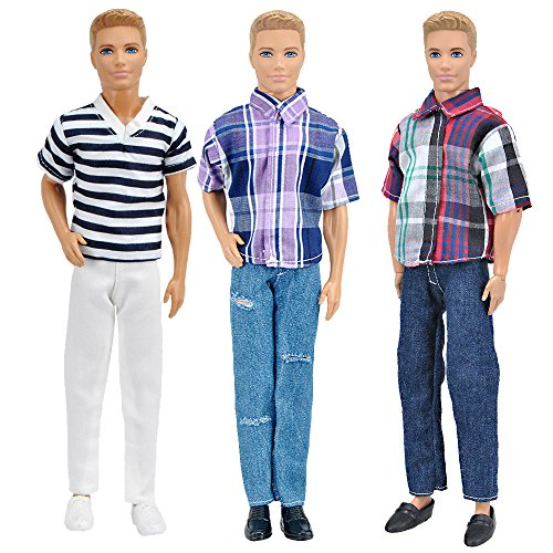 (E-TING 3 Sets Casual Wear Plaid Shirt T-Shirt Jeans Pants Trousers Doll Clothes for Boy Doll (C))