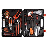P&B Durable Garden Gardening Tools Set 12pc Garden Hand Tools Kit Plant Care Including Anti-rust Trowel Fork with Portable Storage Case - Gift for Gardeners