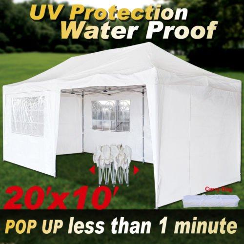 Gazebo Foldable (Strong Camel 10'X20' POP UP Wedding Party Tent Gazebo Foldable Canopy W/ Carry Bag Sidewalls)