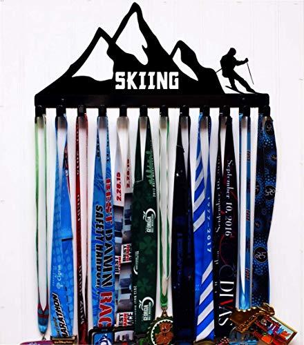 Skiing Metal Wall Mount Medal Holder - 12 Hooks - Color Options