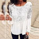 Gyoume Lace Tops Women Long Sleeve Chiffon Blouse Floral Sweatshirts O Neck Office Outwears