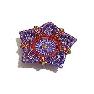 Pure Source India Terracotta, Decorative, 5 Mukhi diyas, Suitable for puja & Festival