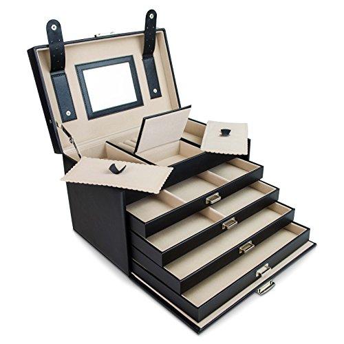 venkon universal schmuckbox mit spiegel 4 schubladen f r schmuck kosmetik aufbewahrung. Black Bedroom Furniture Sets. Home Design Ideas