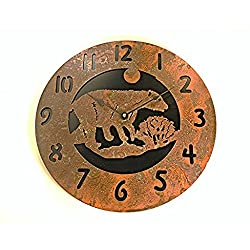 Wall Clock Bear Rustic Rusted Metal Black Back Plate 14 Quartz Movement Accurate to +/- one second per day Use 1 AA batteries (NOT INC)