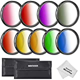 Neewer® 52MM Complete Graduated Color Lens Filter Set (9pcs) for Camera Lens with 52MM Filter Thread - Includes: Red, Orange, Blue, Yellow, Green, Brown, Purple, Pink and Gray ND Filters + Filter Carry Pounch + Microfiber Lens Cleaning Cloth