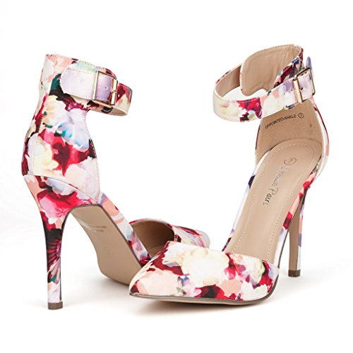 DREAM PAIRS Oppointed-Ankle Women's Pointed Toe Ankle Strap D'Orsay High Heel Stiletto Pumps Shoes Floral Size 8