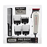 Wahl Professional Pro Basic Clipper Set #8255, White – Great On-the-Go Clipper for Barbers and Stylists – Powerful Standard Electromagnetic Motor