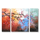 Hand Painted Split Canvas Paintings Floral Unframed 3 Pieces - 56X32 inch (142X81 cm) for Living Room Bedroom Dining Room Wall Decor To DIY Frame Home Decoration by Neron Art