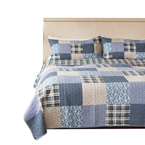 SLPR Blue Symphony 3-Piece Real Patchwork Cotton Quilt Set (Queen) | with 2 Shams Pre-Washed Reversible Machine Washable Lightweight Bedspread Coverlet (Renewed)