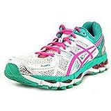ASICS Women's Gel-Kayano 21 Running Shoe,White/Hot Pink/Emerald,6 M US