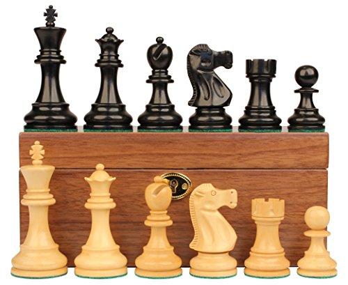 Chess Ebonized (Deluxe Old Club Staunton Chess Set in Ebonized Boxwood & Boxwood with Walnut Box - 3.25