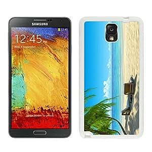 Cheap Samsung Note 3 White TPU Case Chairs on Beach Durable Silicone Phone Cover