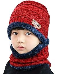 2Pcs Kids Winter Knitted Hats+Scarf Set Warm Fleece...