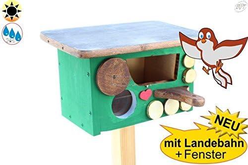 ÖLBAUM Vogelhaus Nisthöhle Nisthaus, Nistkasten für Vögel im Bayern Deko Design, Halbhöhle mit Öffnung ca. 50 x 80 mm, Haus Gras, Anflug braun, Dach anthrazit