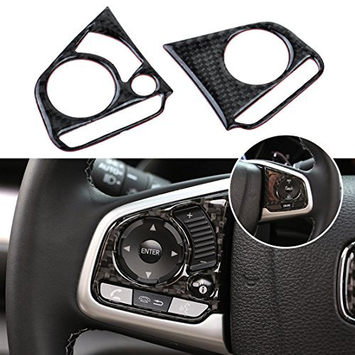 beler 2pcs Carbon Fiber Car Steering Wheel Button Cover Trim Decoration For Honda Civic 2016 (Fulfilled by amazon)