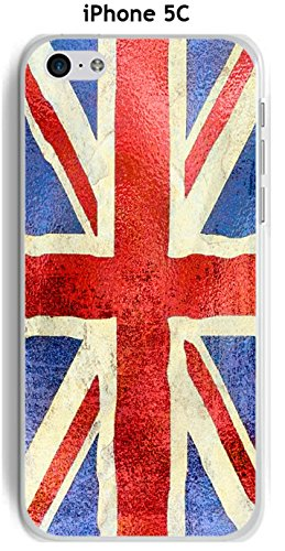 Cover Apple iPhone 5 C Design Bandiera Gran Bretagna Vintage effetto metallizzato