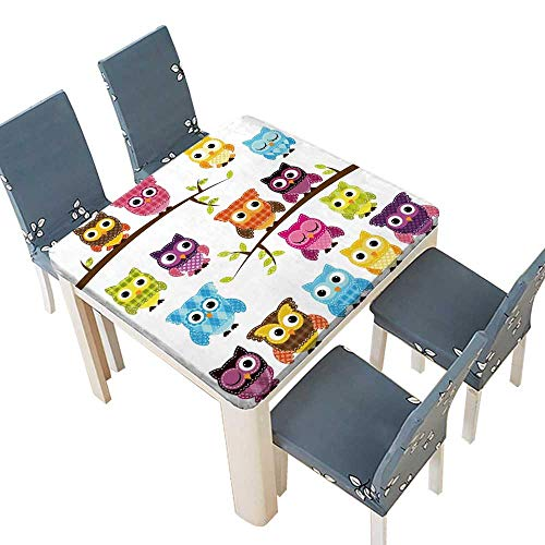 PINAFORE Natural Tablecloth Patchwork Quilt Style Owls Branches Multi Colors & Sizes 49 x 49 INCH (Elastic Edge) ()