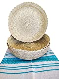 Mexican Baskets For Party Home & Kitchen 3Pack Centerpieces & 1 Handloomed Tortilla Cloth Warmer Keeper. 100% Palm Unique Mexican Art Perfect for Bread, Snacks, Pancakes, Chips, Guacamole & Tortillero