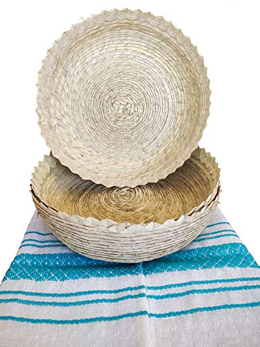 Mexican Baskets For Party Home & Kitchen 3Pack Centerpieces & 1 Handloomed Tortilla Cloth Warmer Keeper. 100% Palm Unique Mexican Art Perfect for Bread, Snacks, Pancakes, Chips, Guacamole & Tortillero by Jacq & Jürgen