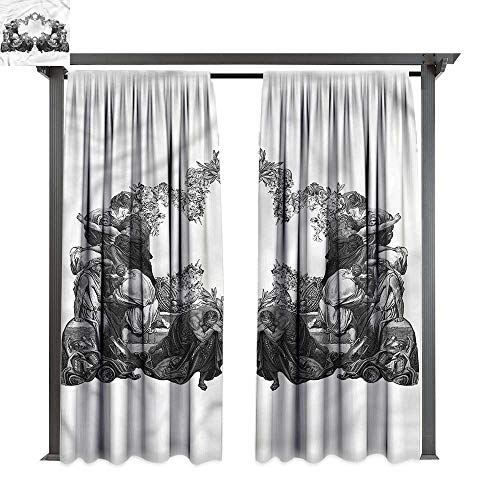 cobeDecor UV Protectant Indoor Outdoor Curtain Panel Victorian Antique Floral Arch for Lawn & Garden, Water & Wind Proof W84 xL84 ()