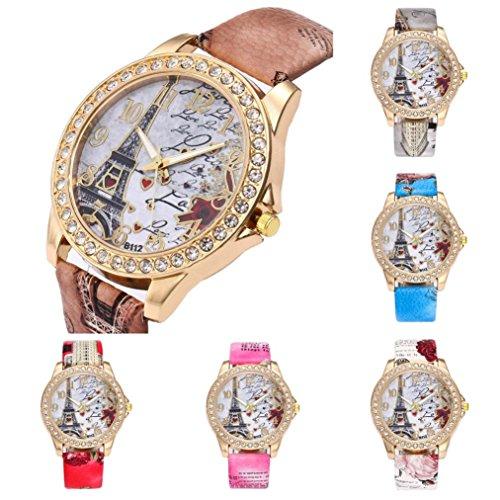BCDshop Womens Wrist Watch Vintage Paris Eiffel Tower Leather Band Crystal Quartz Dial Watch Easter Gift
