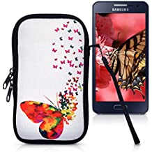 """kwmobile phone bag neoprene sleeve for smartphones M - 5,5"""" - smartphone bag case protective cover with Design Butterfly swarm"""
