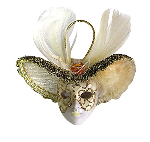 Miniature Masquerade Venetian Mask Ornament with Hat/one Set of 100 Pieces (Gold)