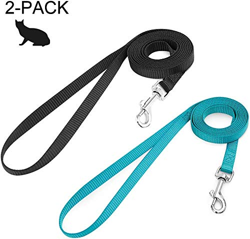 rabbitgoo 2 Pack Cat Leashes – Long Nylon Pet Leash, Escape Proof Durable Walking Leads, Easy Control Outside Cat Leash…