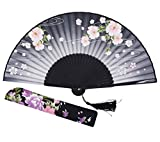 large black feather hand fan - Amajiji Women Hand Held Silk Folding Fans with Bamboo Frame (HF-C)