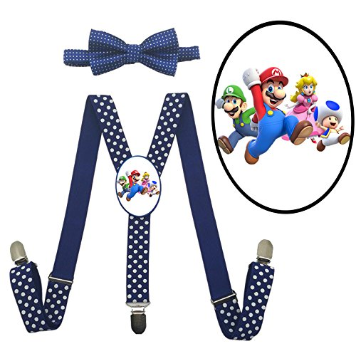 Costume Birdo (LSL Super Mario Family Kids ' Suspender+Bow Tie/Unisex Suspender/Adjustable)