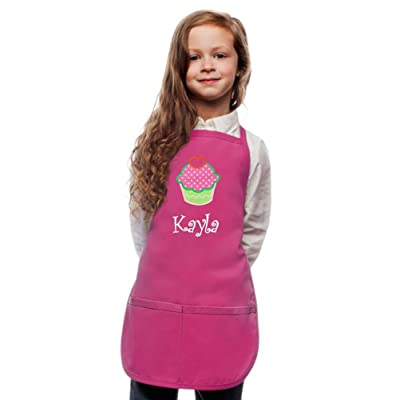 Personalized Kids Apron Custom Embroidered Cupcake Applique Monogrammed Art Chef Party Gift: Clothing