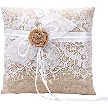 Lace Linen Ribbon Bow Bridal Ring Bearer Pillow Wedding Cushions 8x8 inches Adorona GB72c