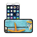 MSD Premium Apple iPhone 6 iPhone 6S Aluminum Backplate Bumper Snap Case Collection of orange starfish on turquoise blue wooden boards with fishing net for a colourful nautical or marine bac