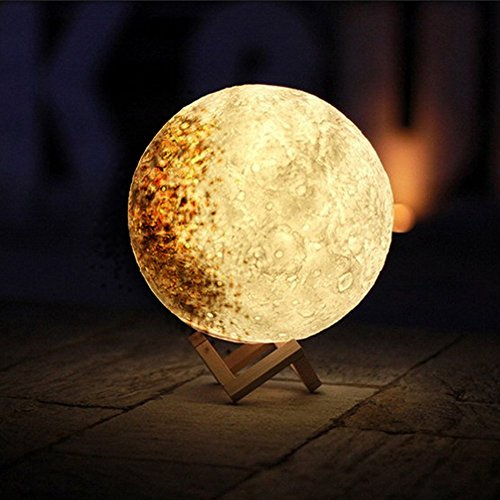 "Dragon-Hub Creative Night Light 3D Printed Moon Lamp Luna USB Charging Home Decorative Light Touch Control Brightness with Wooden Mount (13cm/5.12"", Mood Shadow)"