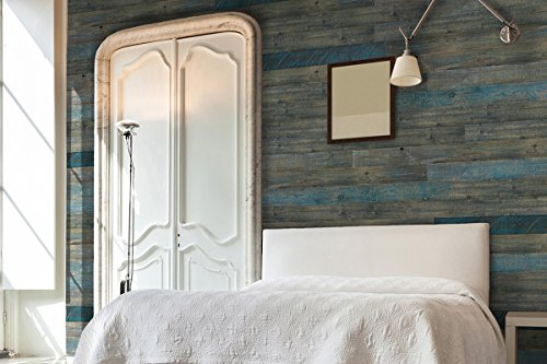 AS-IS BRAND Wood Walls (BLUE-ISH) - Glue & Stick Aged Wood Planks (20 Sq. Ft)