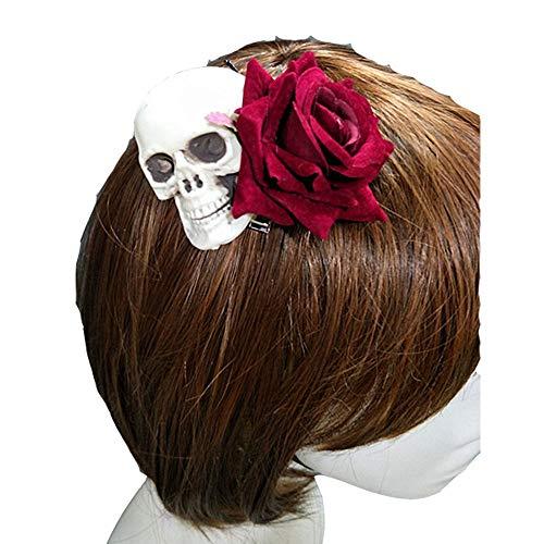Pavian Punksteam Skeleton Rose Hair Clip Gothic Lolly Hair Hoop Photography Halloween Cosplay -