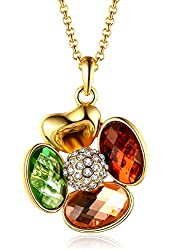 "Four-leaf Clover Swarovski Elements Crystal Yellow Gold Plated Pendant Necklace,18""+2.5"" Extender"