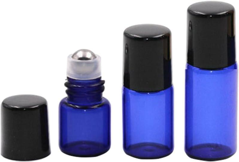 Juego de 10 botellas de aceite, líquidos y perfume, recargables, de 1 ml, 2 ml, 3 ml, vacías, con rodillos de metal y tapas negras; de la marca Furnido, azul, 1ml