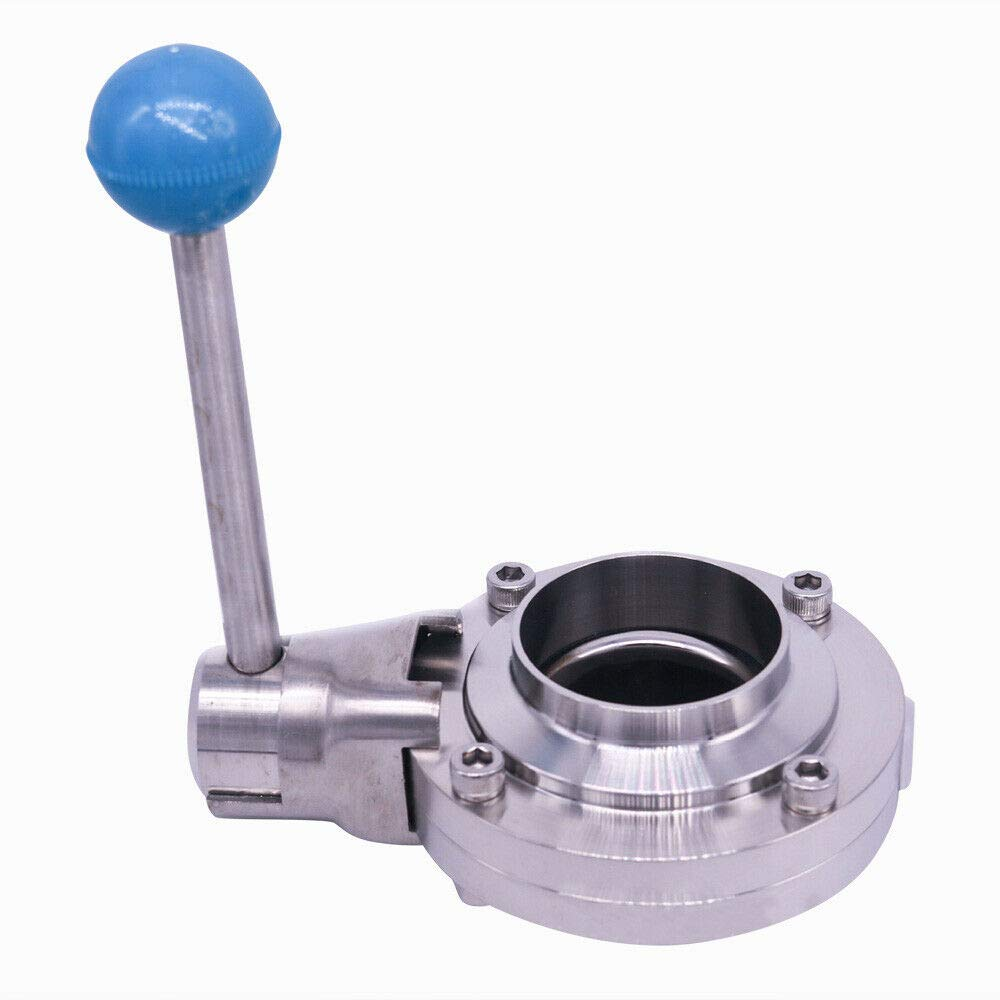 RANZHIX Butterfly Valve 3-Clamp Sanitary Butterfly Valve Stainless Steel 304 Tri Clamp Butterfly Valve 2 Weld Ends w//Silicone Sealing Seat Cover /& Pull Handle